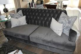 Ava Velvet Tufted Sleeper Sofa by Furniture Elegant Living Room With Grey Velvet Tufted Sofa And