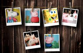 polaroids including spongebob peppa george maisy mouse and a