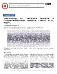 Sedimentology And Geochemical Evaluation Of Sedimentology And Geochemical Evaluation Of Cano Maastrichtian Sed