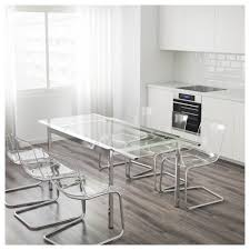 Ikea Glass Table by Extendable Table Glivarp Transparent Chrome Plated White Dining