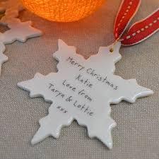 personalised christmas snowflake decoration by carys boyle