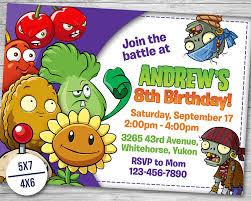 plants vs zombies invitation plants vs zombies birthday