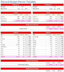 bi weekly personal budget planner template