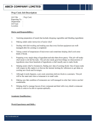 Sample Of Chef Resume Sample Resume For Cook Job Youtuf Com