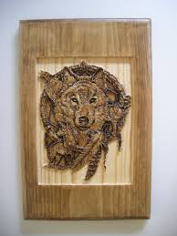 carved wood wolf dreamcatcher wall decor home decor pine