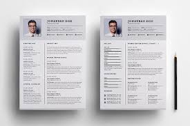 2 page resume template professional two page resume set resume templates creative market