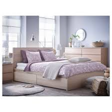 Malm Bed Frame Malm Bed Frame High W 4 Storage Boxes White Stained Oak Veneer