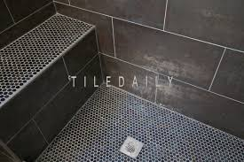 metallic iron shower wall and shower floor tiledaily