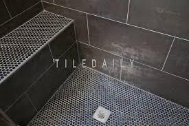 Glass Mosaic Border Tiles Metallic Iron Shower Wall And Penny Round Shower Floor U2013 Tiledaily