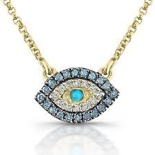 eye pendant necklace images 14kt yellow gold white blue diamonds evil eye pendant turquoise jpg