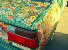 custom car paint jobs wild flower covered toyota tree hugger