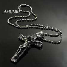 mens christian jewelry amumiu jesus cross with chains stainless steel mens jewelry
