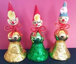 vintage spun cotton clown christmas ornaments mercury glass bulbs