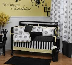 Black And White Crib Bedding For Boys New Damask Collection Pairs Black White And Yellow Carousel