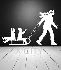 online get cheap wall stickers dad aliexpress com alibaba group winter family fun dad pulling children on sled snow wall art sticker vinyl decal die cut