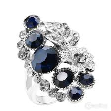 crystal pave rings images Fancy gypsy fashion ring with silver leaf in a blue rhinestone and JPG