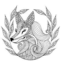 fox and leaves animals coloring pages for adults justcolor