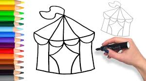 learn to draw a circus tent teach drawing for kids and toddlers