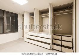 empty room opened white wardrobecloset wood stock photo 610778501