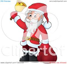clipart of a cartoon christmas santa claus ringing a bell