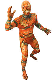 unisex orange pumpkin print morphsuit jack o lantern