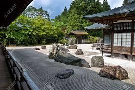 rock garden in a buddhist temple in koya san japan stock photo