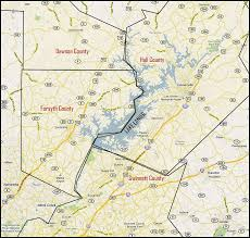 lake lanier map lanier waterfront homes for sale by county