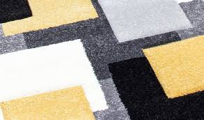 Square Modern Rugs Tempo Square Rug Black Grey Yellow