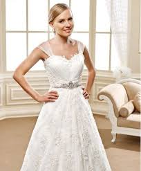 wedding dresses with straps swarovski beaded belt on lace a line wedding dress