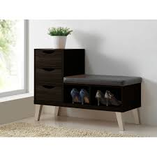 Storage Seating Bench Baxton Studio Arielle Modern And Contemporary Dark Brown Wood 3