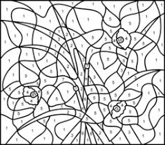 Hard Flower Coloring Pages - narcissus online color by number page hard art therapy