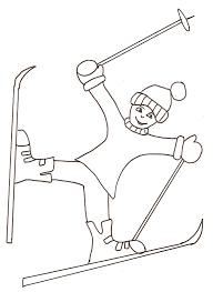 coloriage skieur acrobate tête à modeler