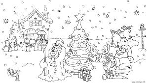 Coloriage noel paysage bonhomme de neige sapin maison reine