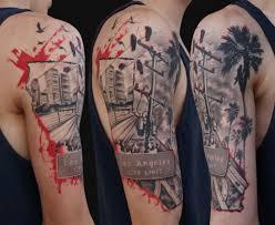 los angeles trash polka style tattoos