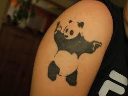 gangsta panda tattoo on half sleeve tattoo by banksy