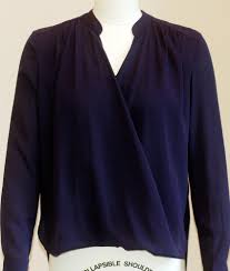 navy blue blouse blue crossover blouse