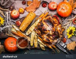 thanksgiving dinner table roasted whole turkey stock photo