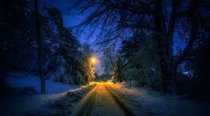 Tree Lights Landscape by Nature Landscape Winter Street Lantern Snow Trees Tracks