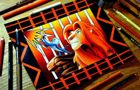 lion king colored pencil drawing