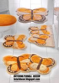 Orange Bathroom Rugs by Unique Orange Bath Rug Set Louise Ribbed 3 Piece Bathroom