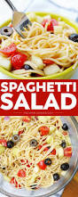 summer spaghetti salad with veggies and italian dressing