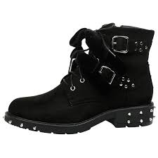 ladies black motorcycle boots womens shoes ladies biker boots ankle velvet bow ribbon buckle
