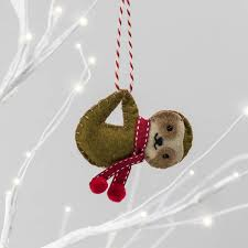 personalised sloth christmas tree decoration by miss shelly