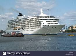 the world floating hotel and cruise ship moored on the river