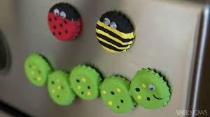 kid crafts how to make cute bottle cap bug magnets