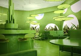 Nature Concept In Interior Design Green Cafe Concept On Behance