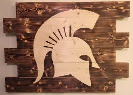 Spartan Home Decor by Michigan State Spartan Football Man Cave Wood Sign