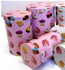 cupcake canisters for kitchen set of 3 small cupcake canisters retro kitchen food storage tea