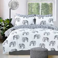 Duvet Quilt Cover Elephant Grey Reversible Duvet Quilt Cover Pillowcases Double