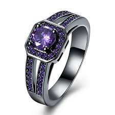 colored engagement rings cut black titanium amethyst black pink engagement rings